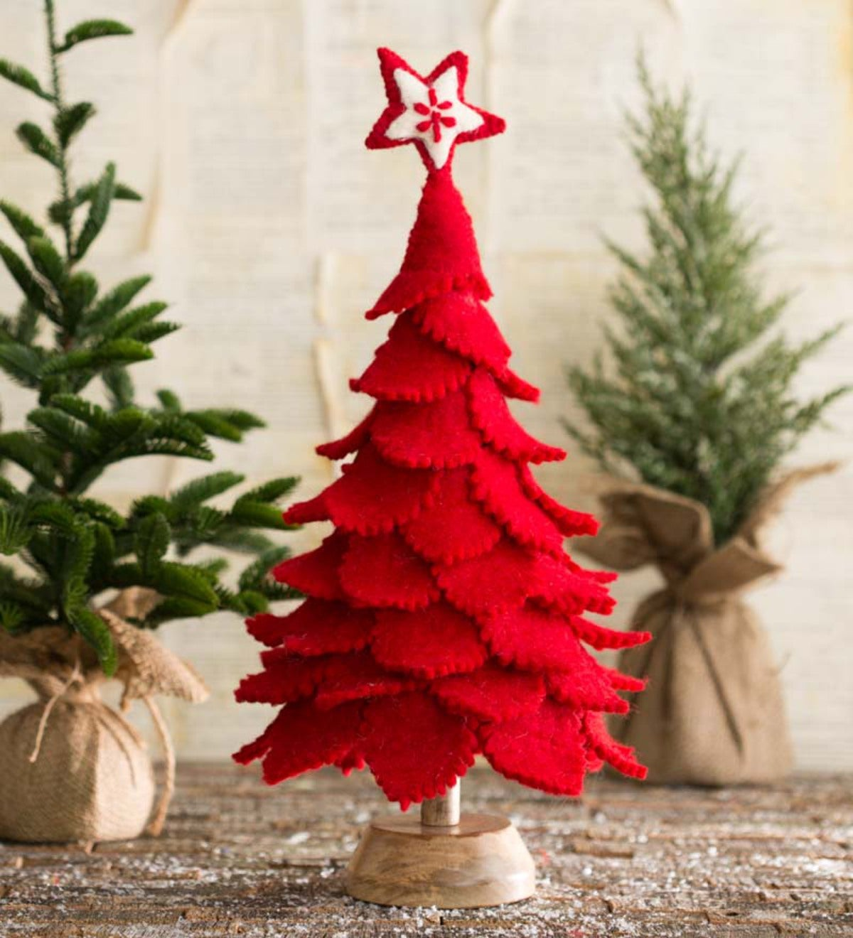 Handcrafted Felt Christmas Tree - Red