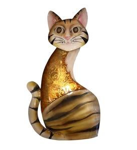 Metal and Capiz Sitting Cat Wall Art