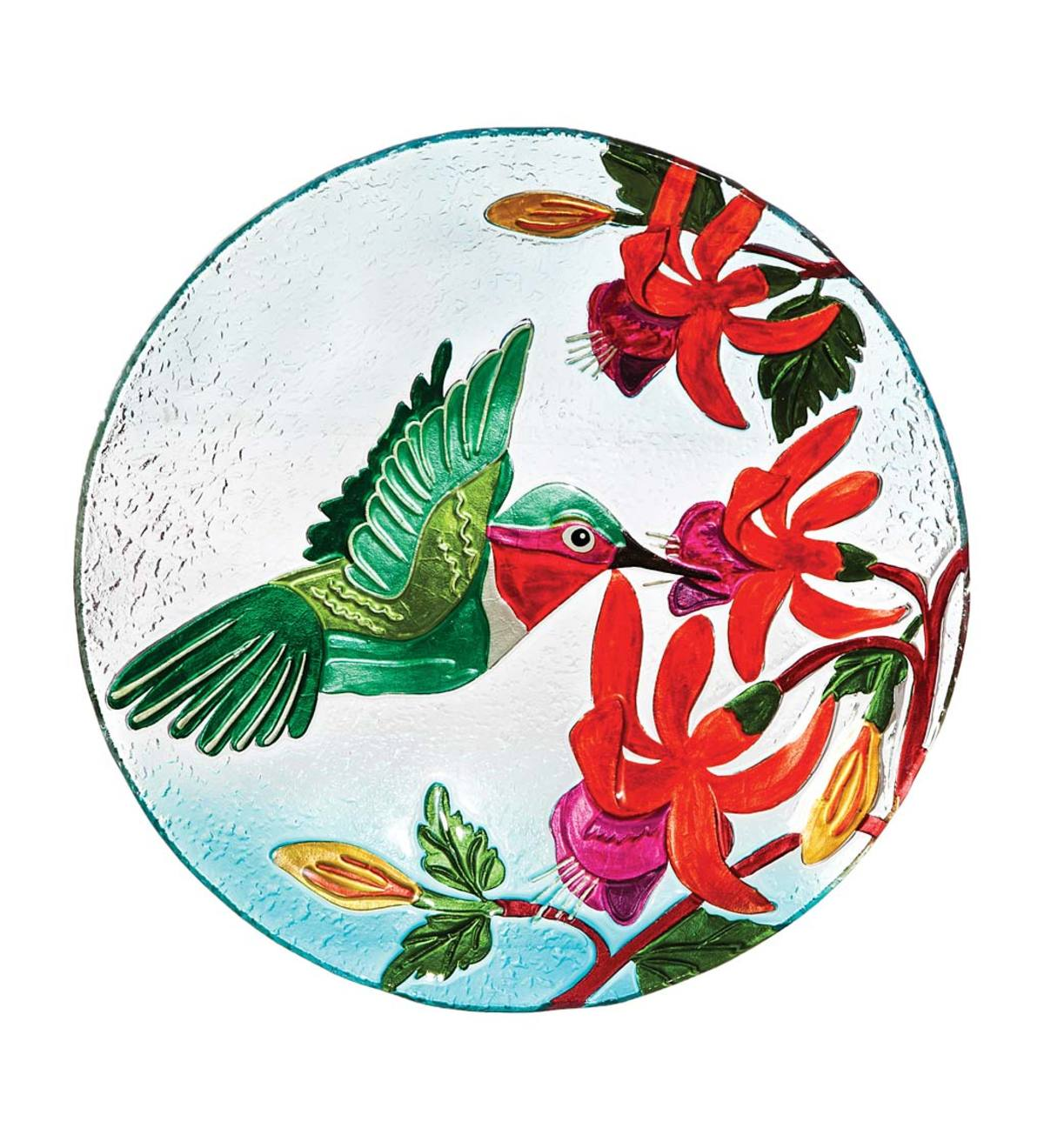 Glass Hummingbird Birdbath Bowl