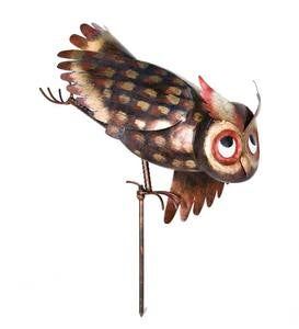 Metal Yoga Owl Garden Sculpture. U2039 U203a