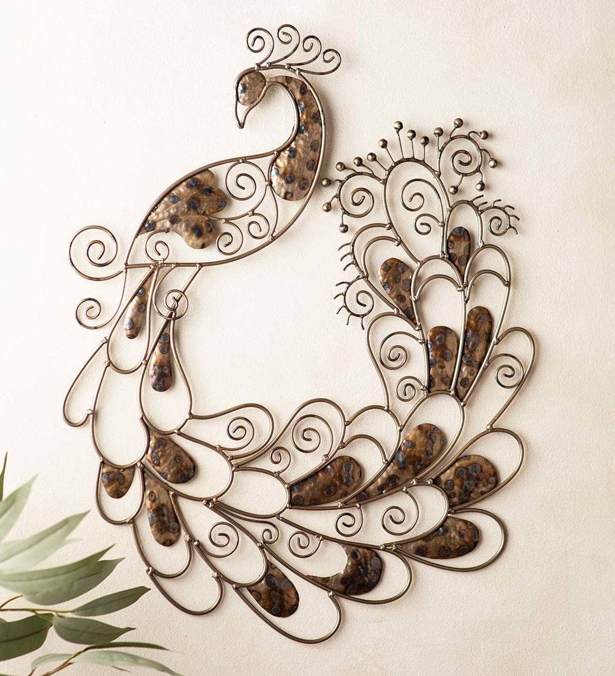 Handcrafted Metal Flame-Treated Peacock Indoor/Outdoor Wall Art