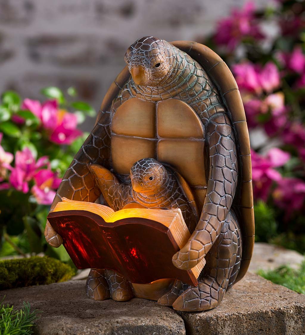 Solar Lighted Reading Mama and Baby Turtles Sculpture