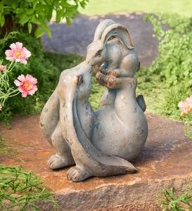 Mama Balancing Baby Bunny Resin Indoor/Outdoor Stone Finish Sculpture