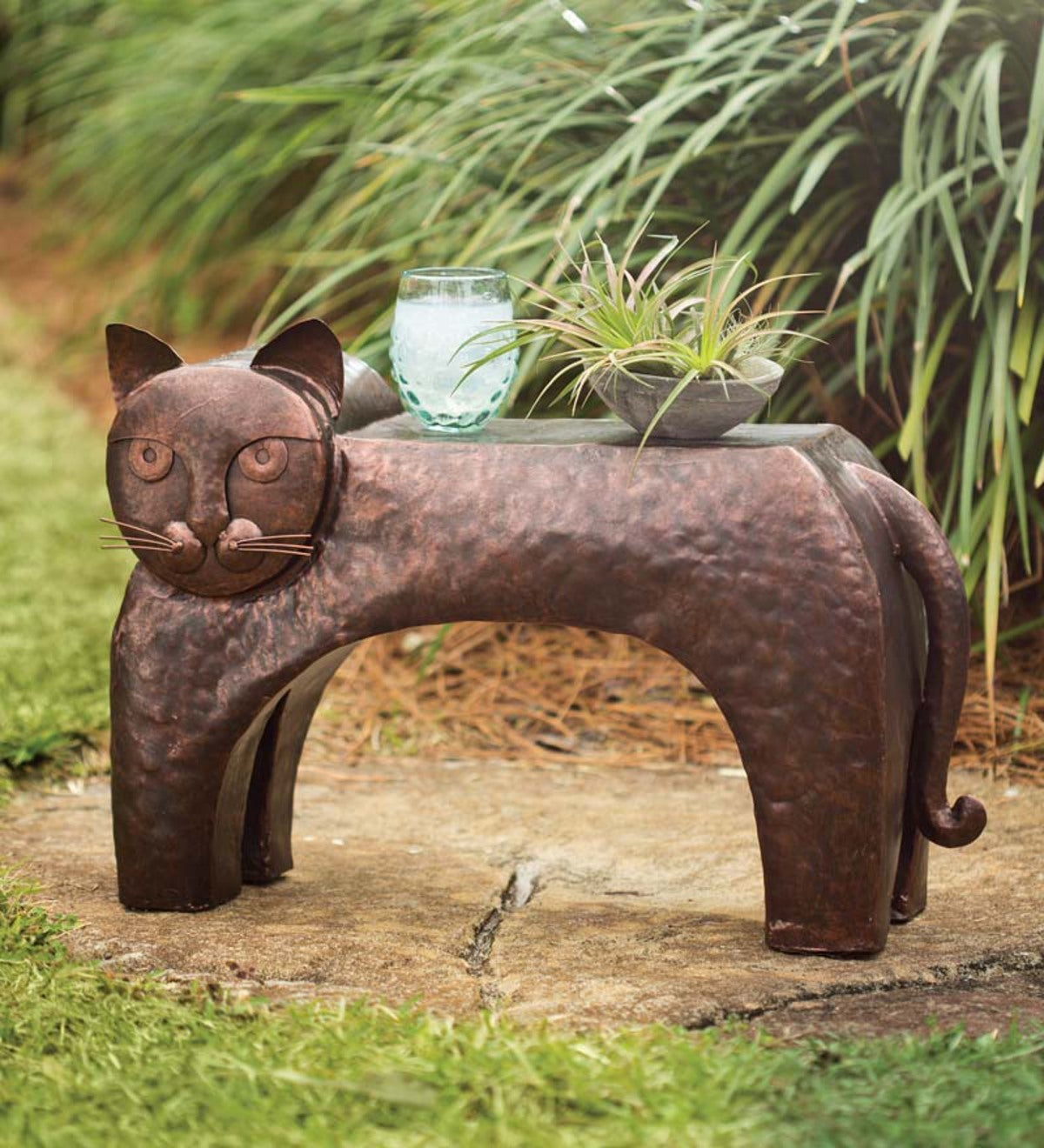 Handcrafted Metal Cat Side Table