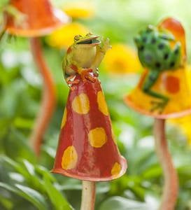 Frogs on Mushrooms Metal Garden Stakes, Set of 3