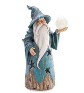Wizard Statue with Solar Globe