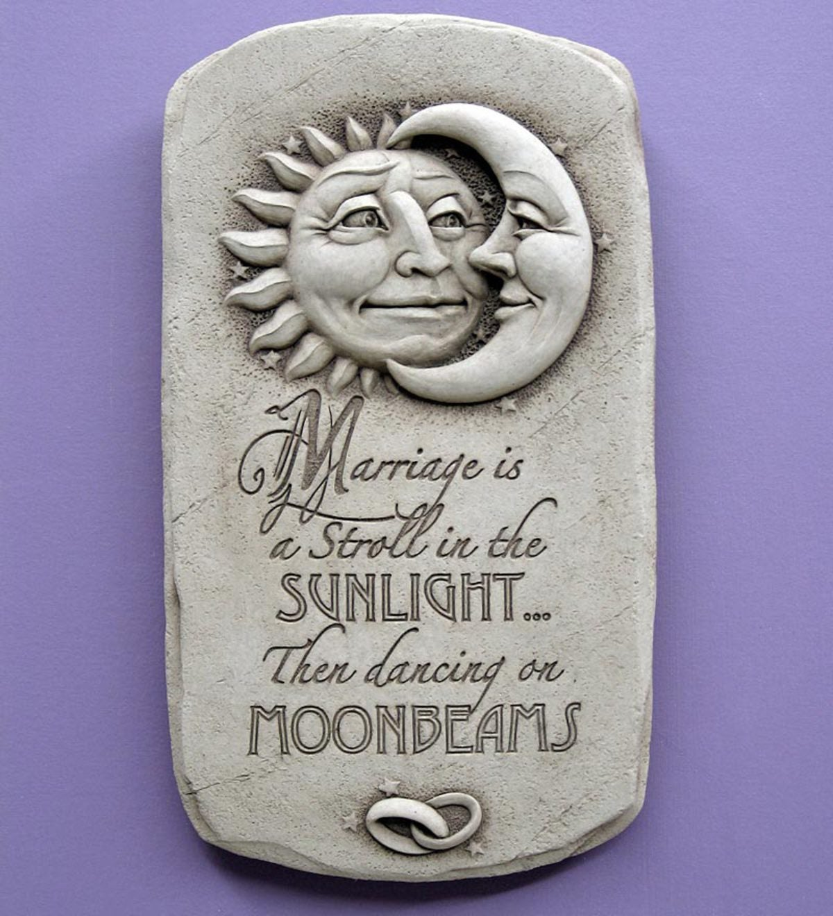 Sunlight & Moonbeams Hand Cast Stone Plaque by Carruth Studio