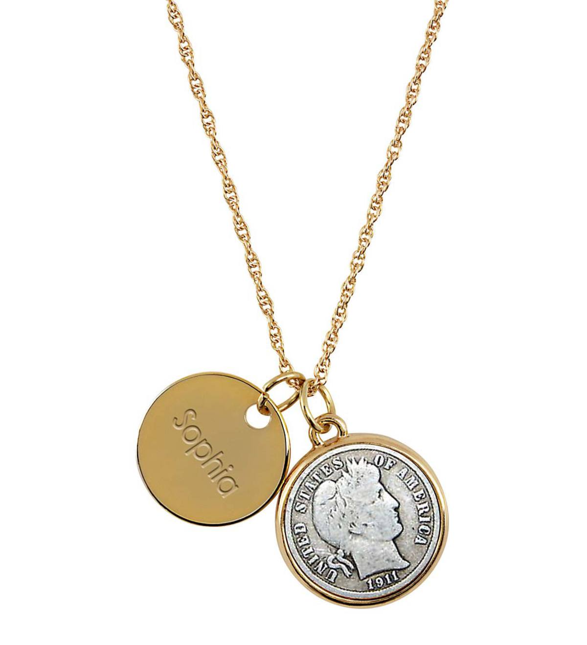Personalized Pendant Necklace with Silver Dime