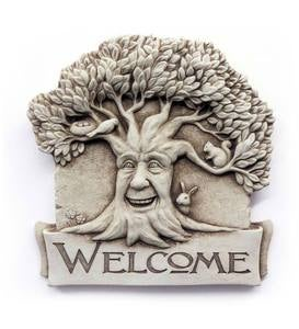 Cast Stone Happy Tree Welcome Plaque