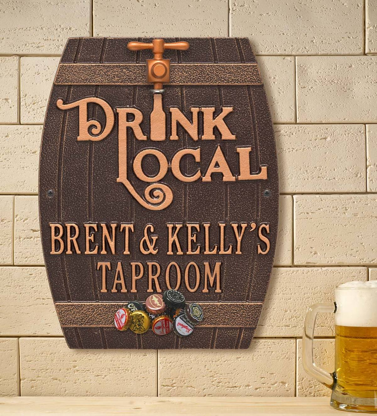 Drink Local Personalized Pub Plaque with Opener