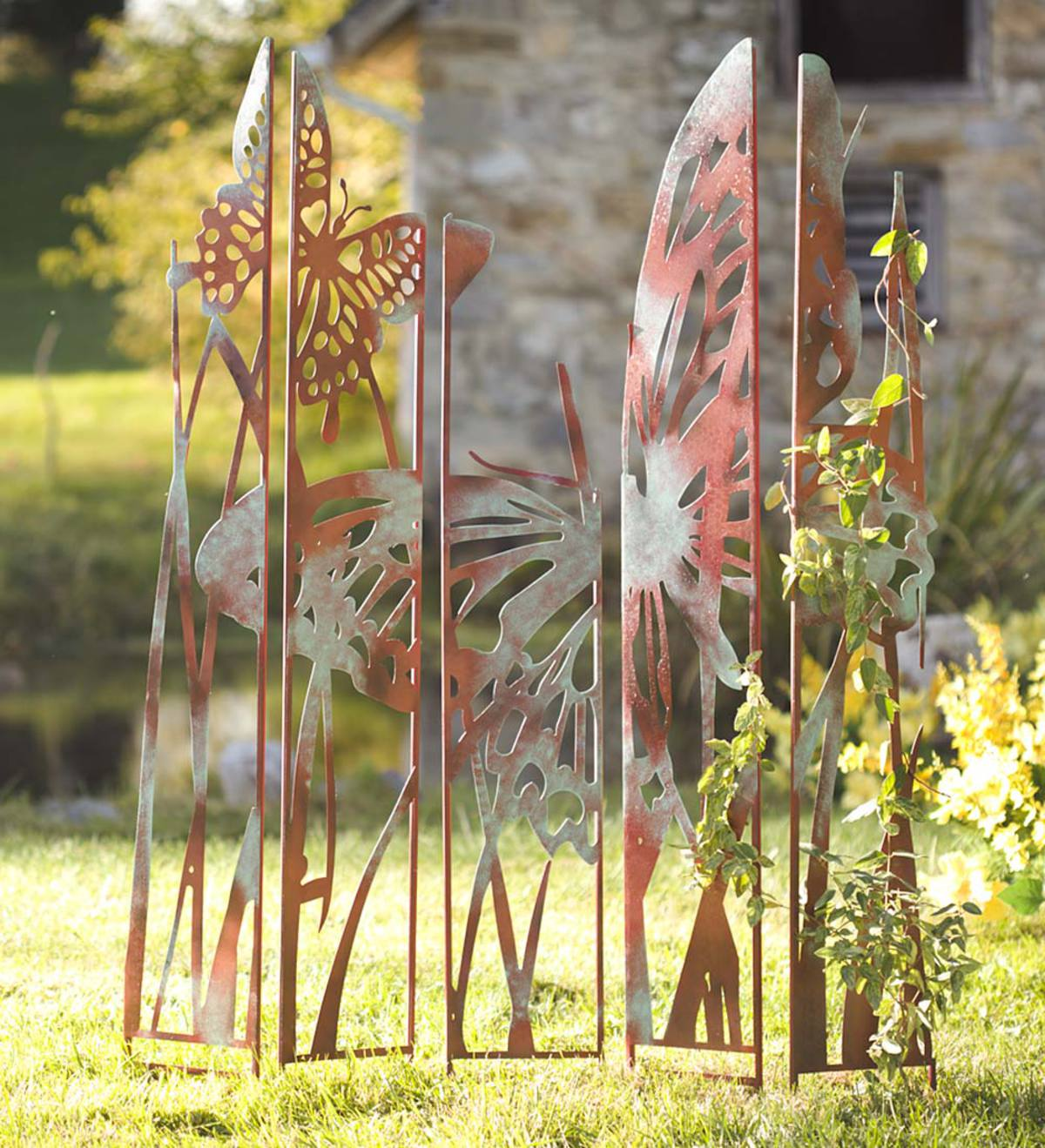 Metal Garden Panel Stakes  - Free 2 Day Delivery - Butterfly