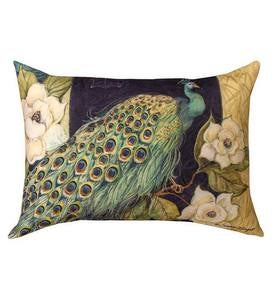 Colorful Rectangular Peacock and Flowers Throw Pillow