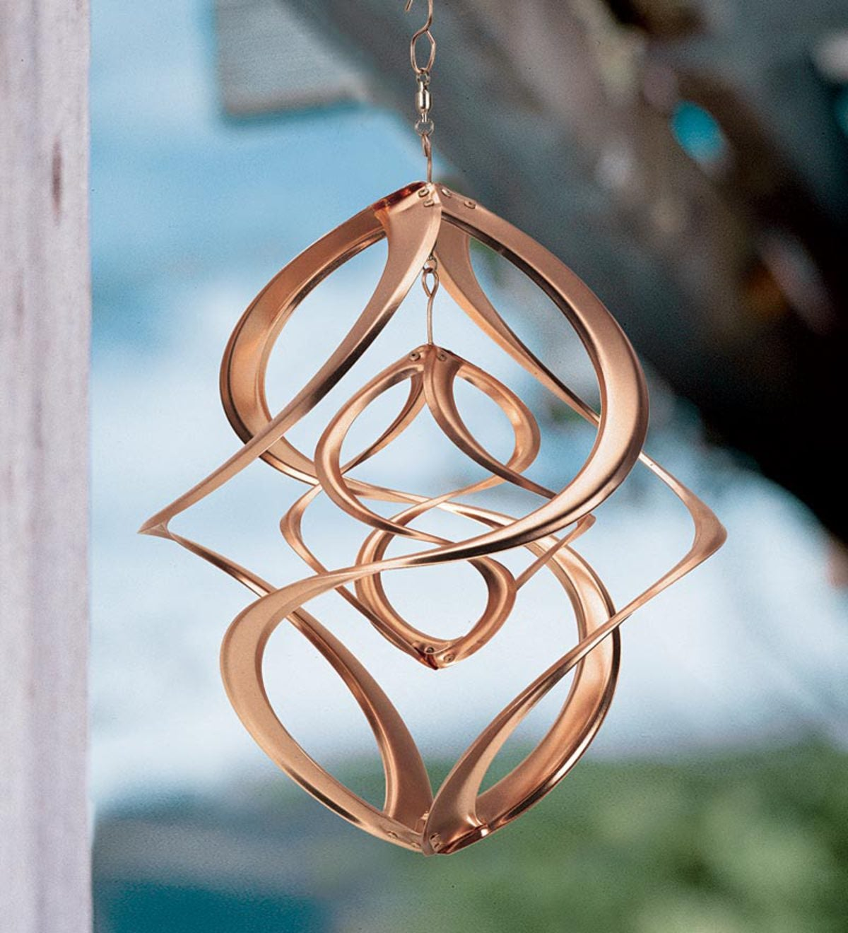Copper-Plated Dual Spiral Hanging Metal Wind Spinner