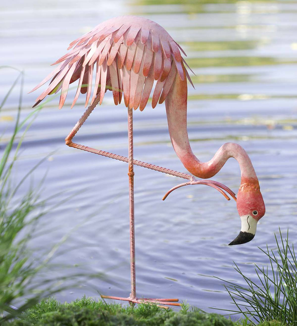 Metal Bowing Flamingo Garden Stake