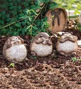 See No Evil, Hear No Evil, Speak No Evil Hedgehog Statues, Set of 3