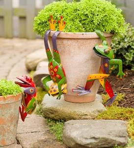 Metal Frog Pot Huggers, Set of 3