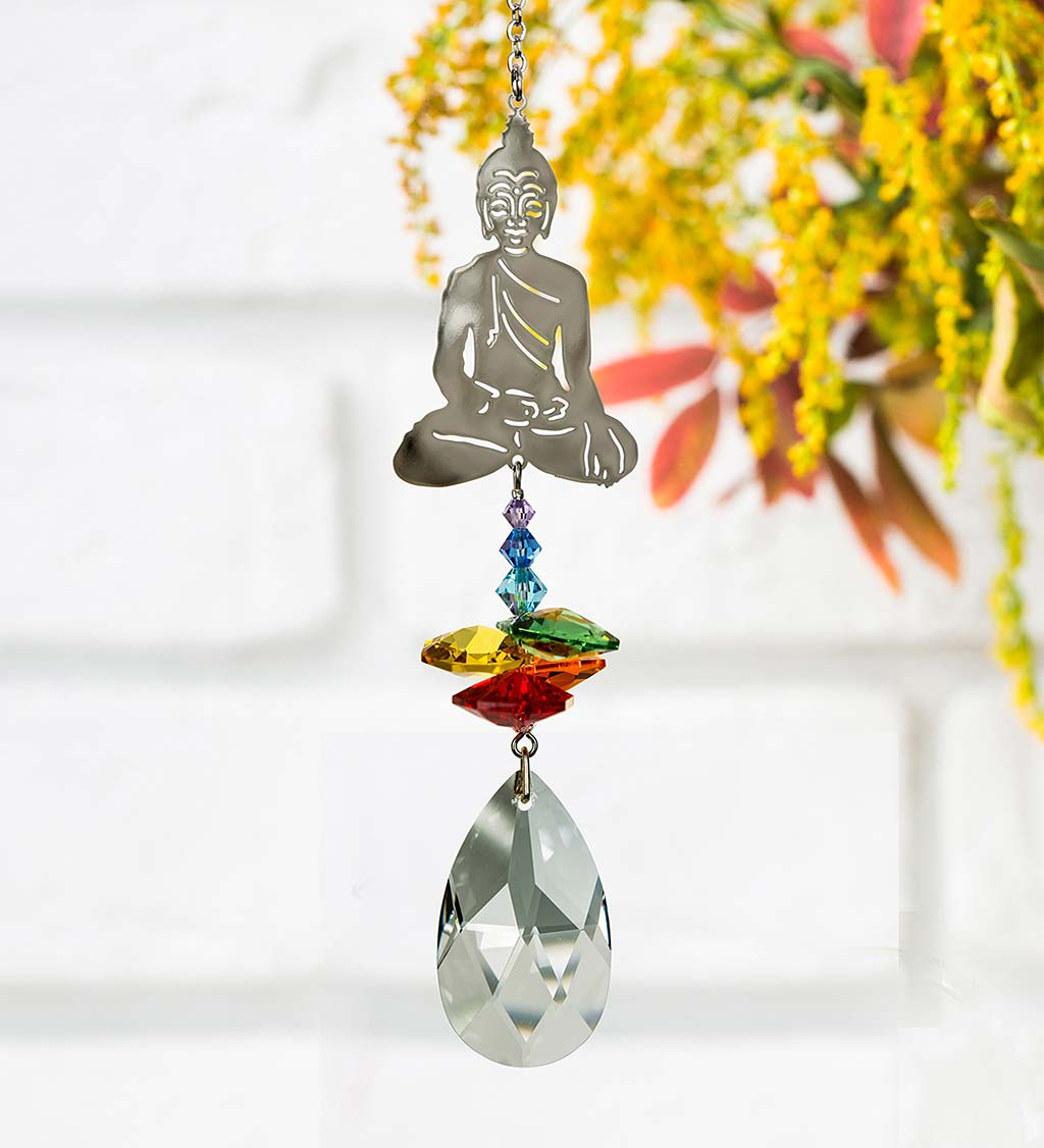 Seated Buddha With Genuine Austrian Crystals Suncatcher