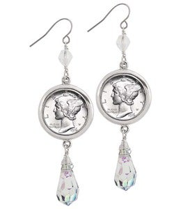 Silvertone Mercury Dime Crystal Drop Earrings