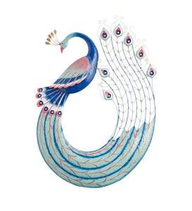 Blue and Pink Metal Peacock Wall Art