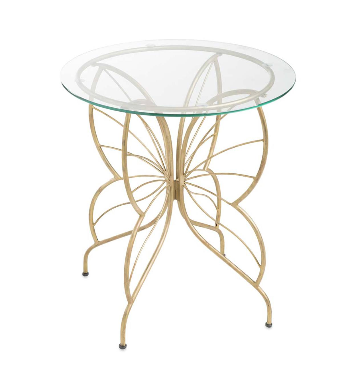 Merveilleux Glass Topped Metal Butterfly Table