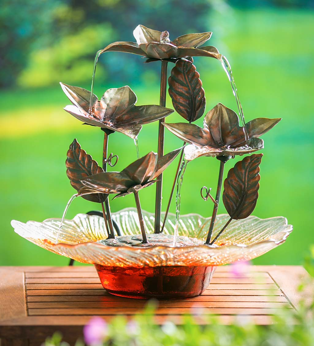 Bronze Flower Tabletop Glass Water Fountain