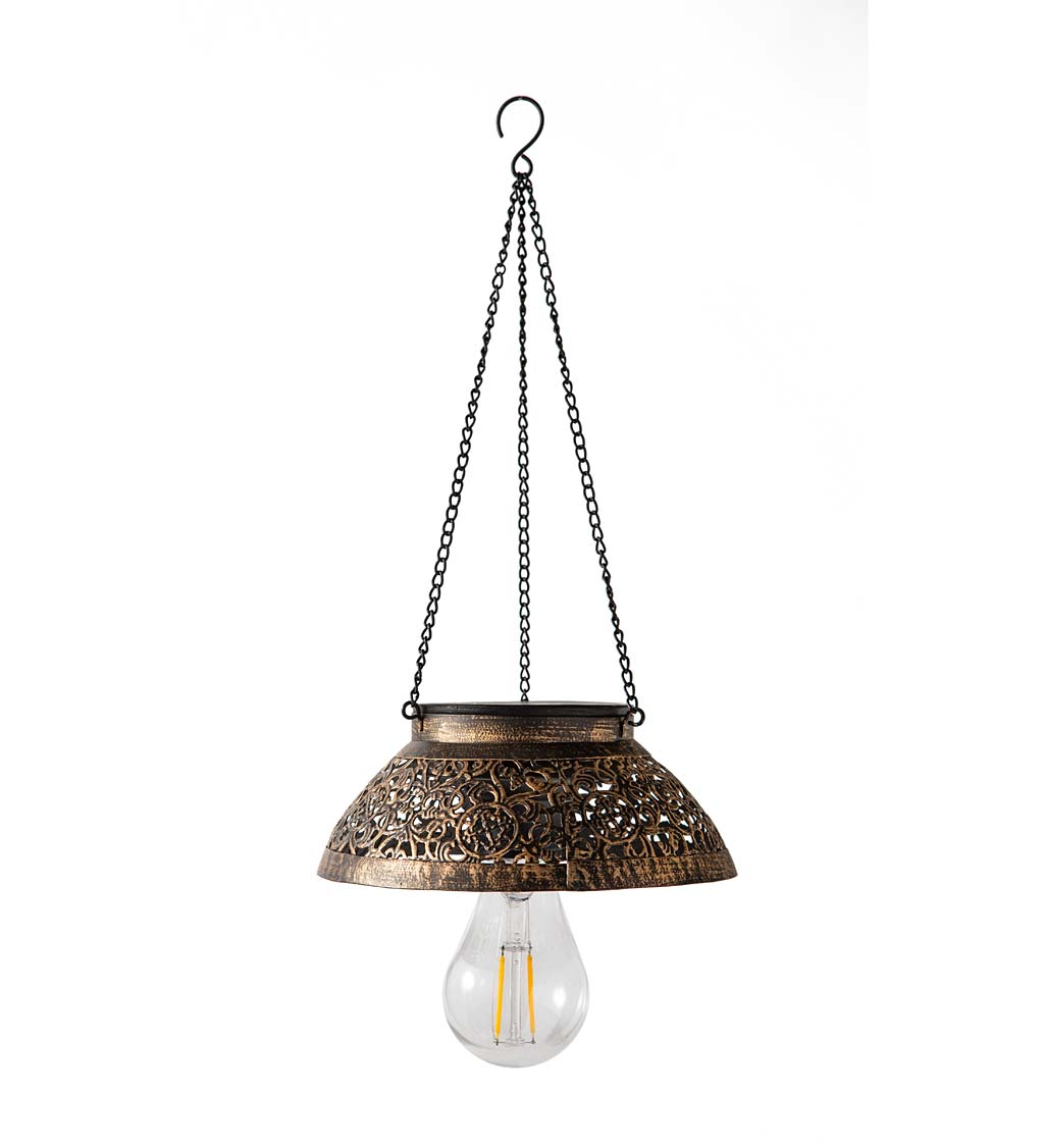 Antiqued Metal Hanging Indoor/Outdoor Flower Light