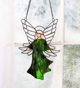 "Colorful Stained Glass Angel Sun Catcher with 24"" Hanging Chain - Green"