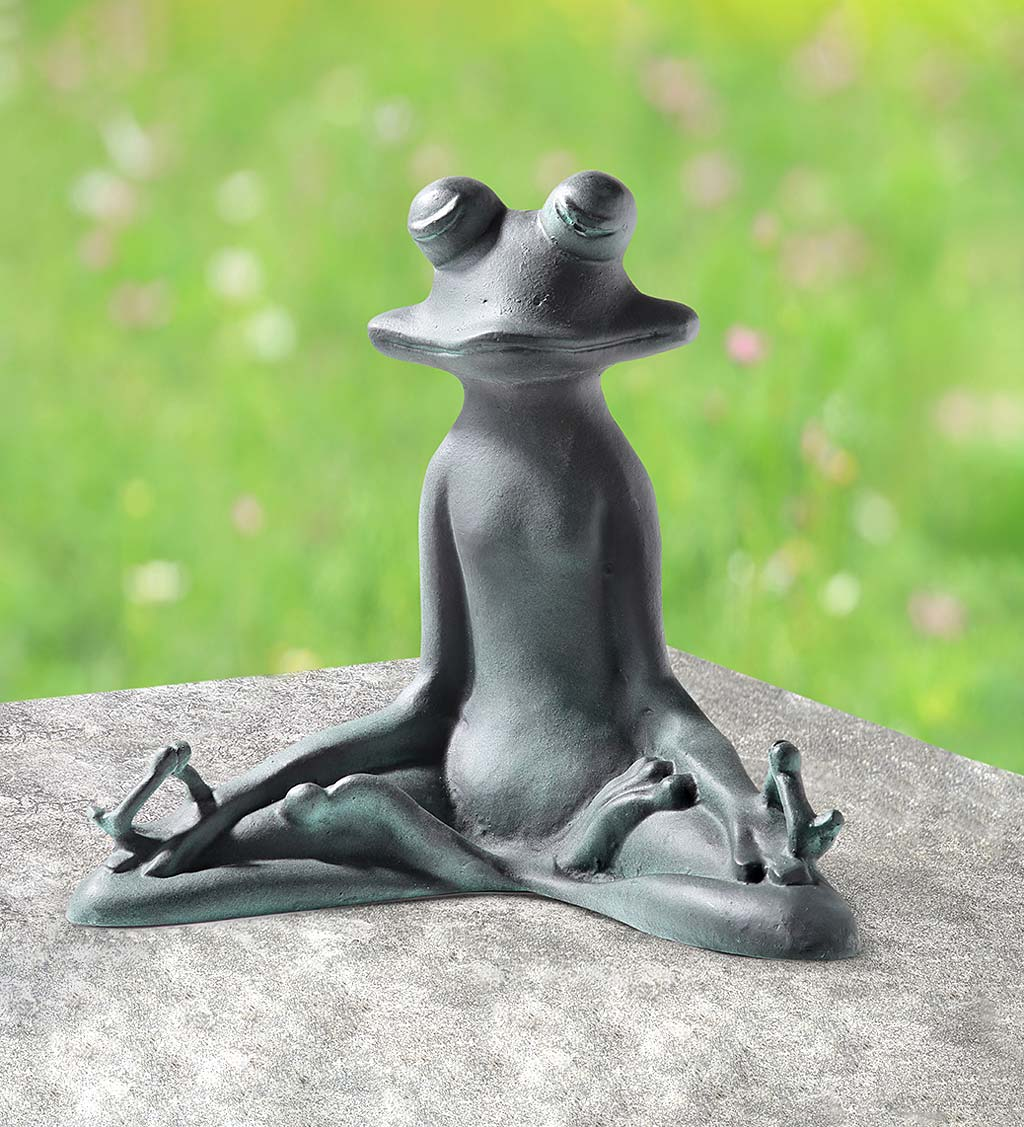 Handcrafted Metal Yoga Frog Sculpture