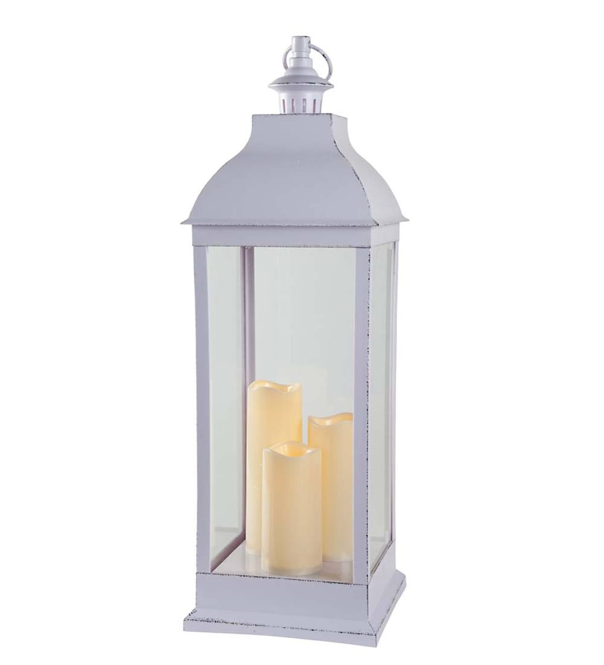 Antique-Style Lantern with Electric Candles - White