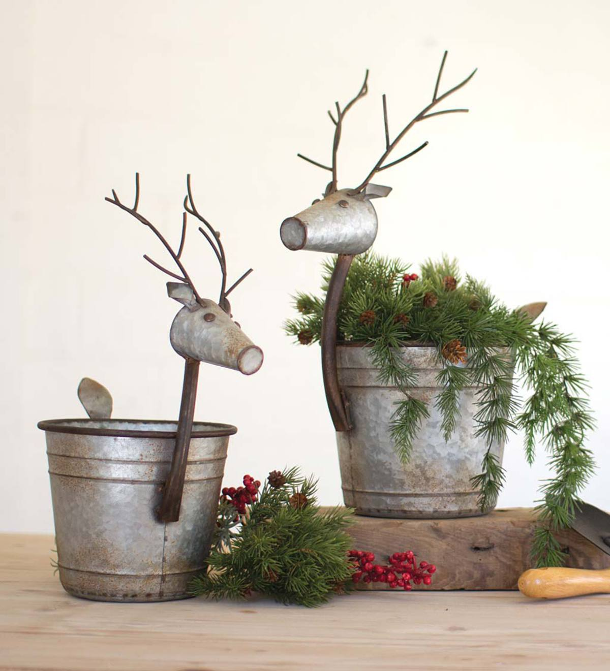 Metal Deer Planters, Set of 2