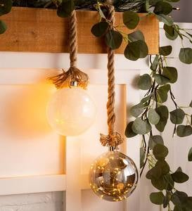 Large Glass Indoor Ball Light With Hanging Rope and Integrated Timer - Smoke