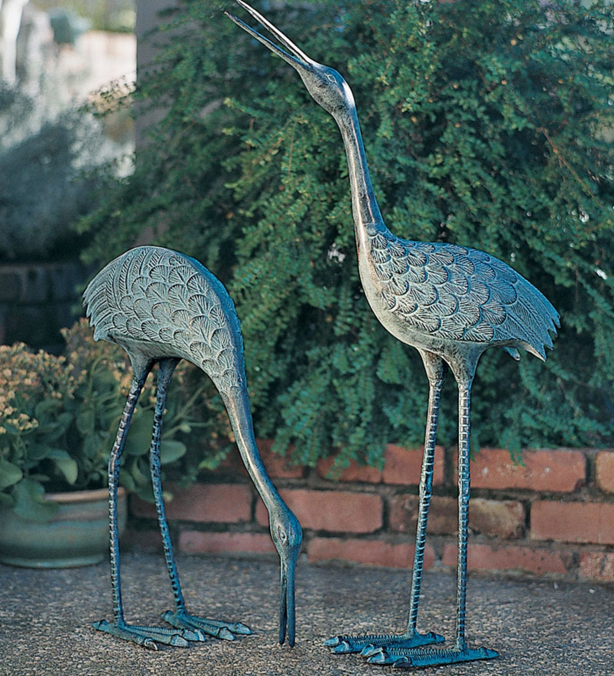 Hand-cast Brass Courting Cranes