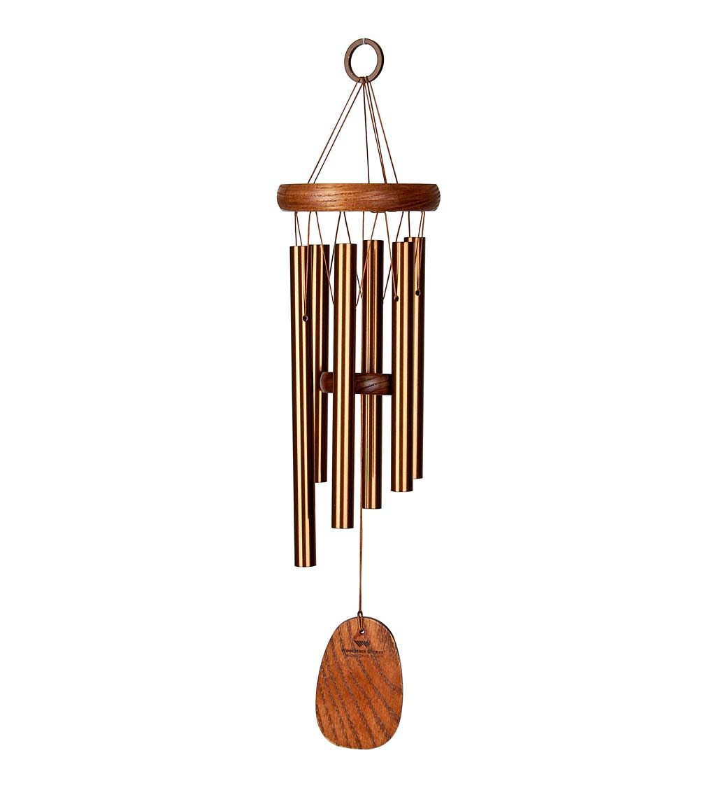 Bronze-Colored Aluminum Amazing Grace Wind Chime With Ash Wood Disk And Wind Catcher