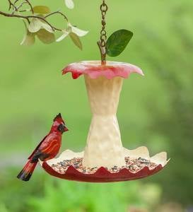 Metal Apple Core Bird Feeder with Cardinal