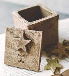 Ceramic Make-a-Wish Box with Golden Stars