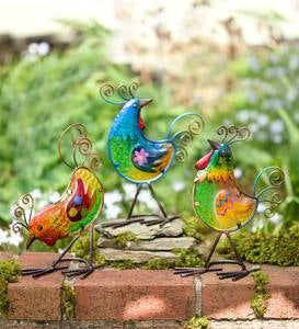 Metal and Glass Birds, Set of 3