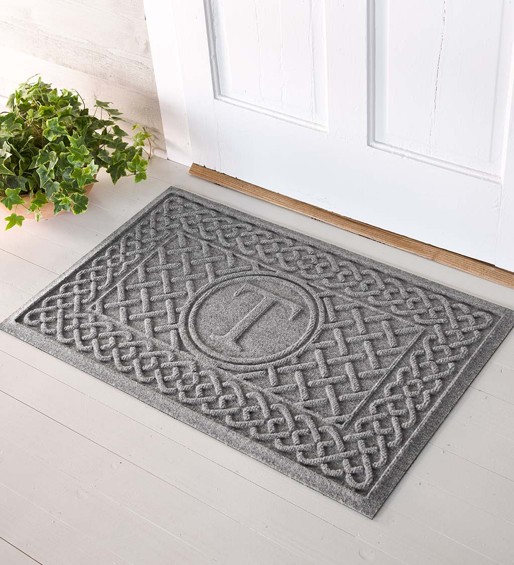 Waterhog Cable Weave Doormat with Single Initial, 2' x 3' - Gray