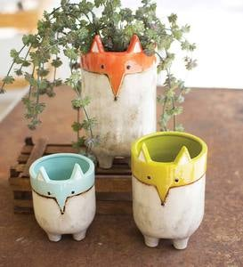 Ceramic Fox Planters, Set of 3