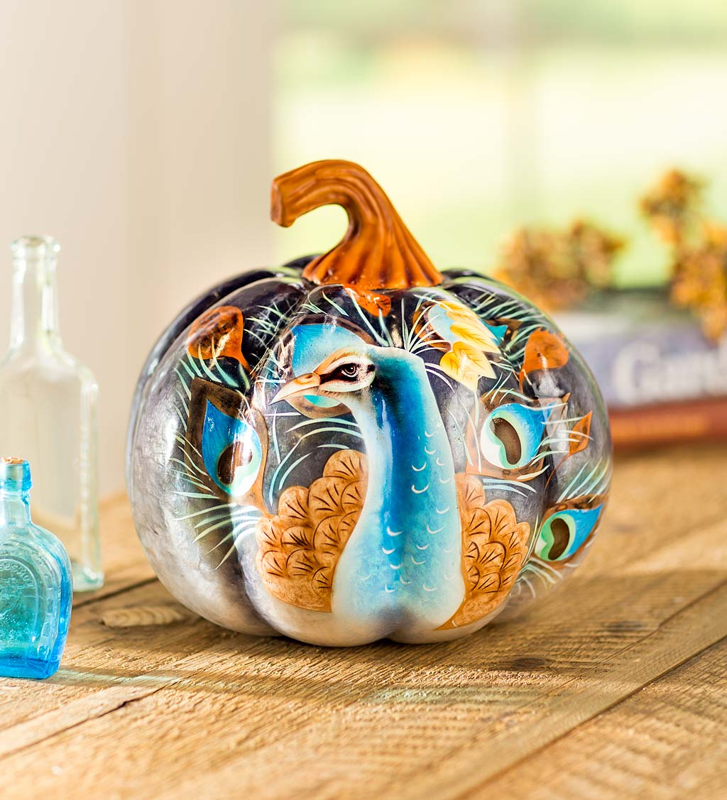Handcrafted and Hand-Painted Peacock Pumpkin with Natural Capiz Shell