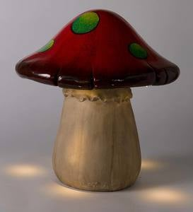 Solar-Lighted Short Red Mushroom