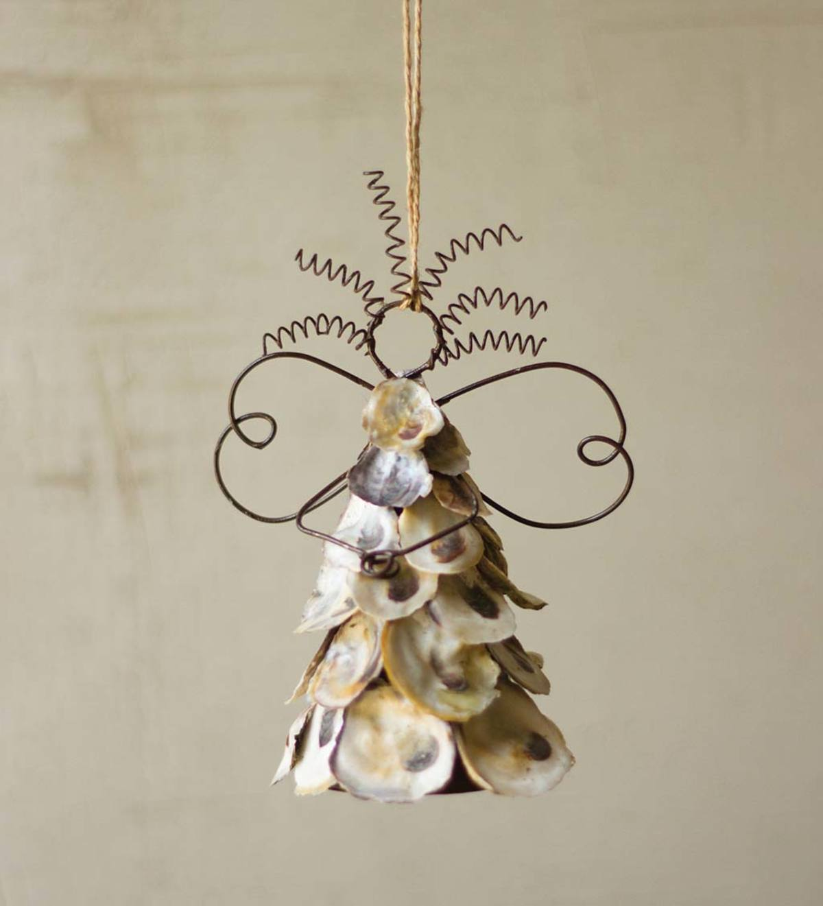 Metal and Oyster Shell Angel Holiday Decoration