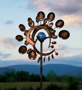 Dual-Motion Copper-Colored Metal Wind Spinner with Glowing Orb