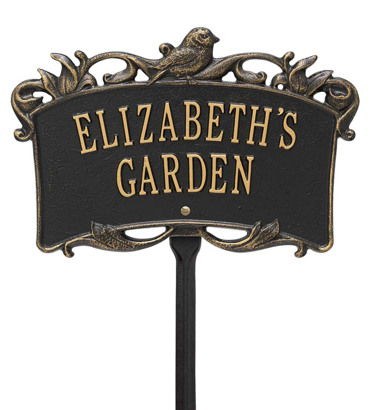 Personalized Bird Garden Plaque - Black/Gold