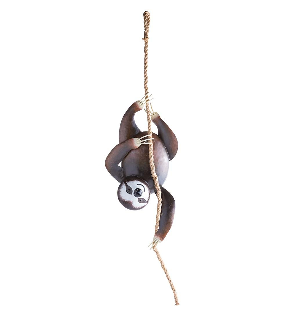 Handcrafted Hanging Metal Sloth on a Rope Decoration