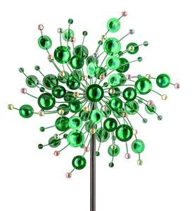 Green Metal Wind Spinner with Colorful Crystals