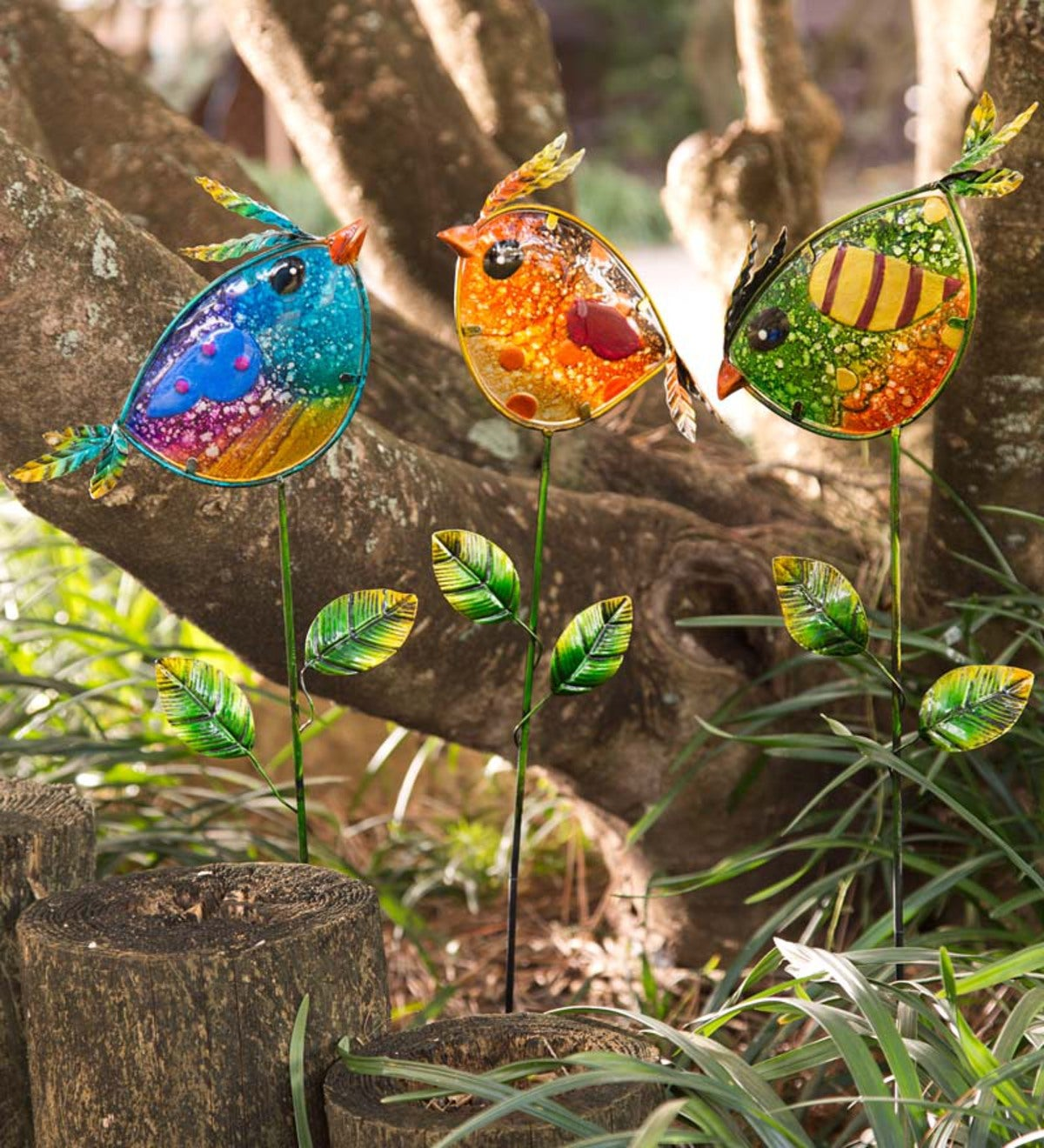 Colorful Glass Bird Garden Stakes, Set of 3 | Decorative Accents ...