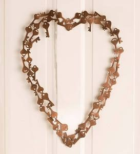 Metal Key Heart Wreath
