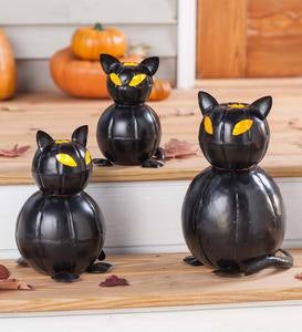 Metal Black Cat Lanterns, Set of 3