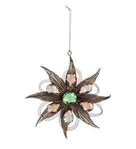 Metal Feather Flower Ornament with Gem Accents