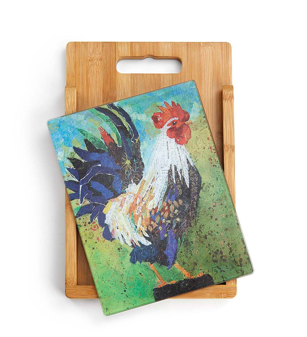 Wood and Glass Rooster Cutting Board